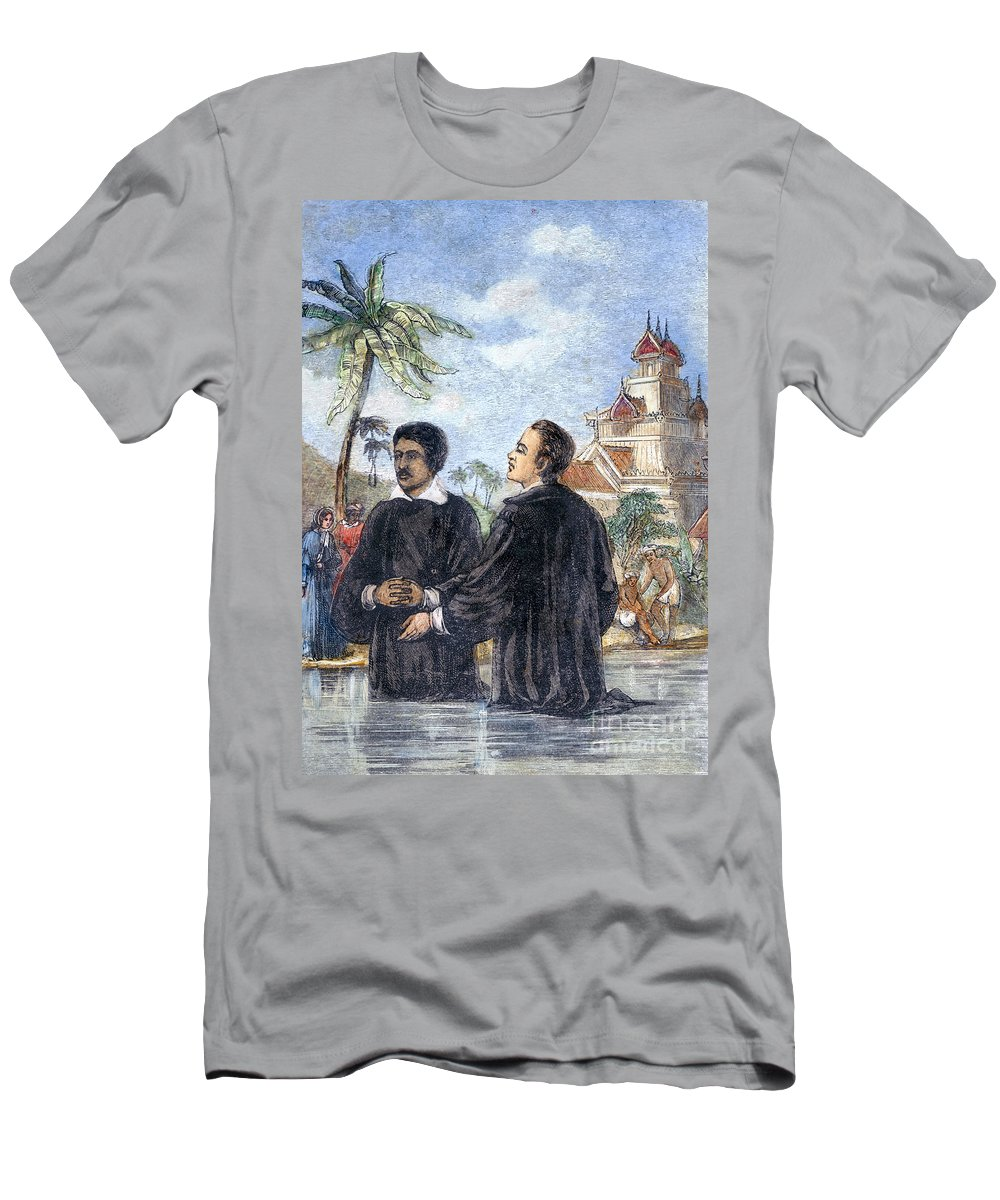 19th Century Men's T-Shirt (Athletic Fit) featuring the photograph Missionaries: Baptism by Granger