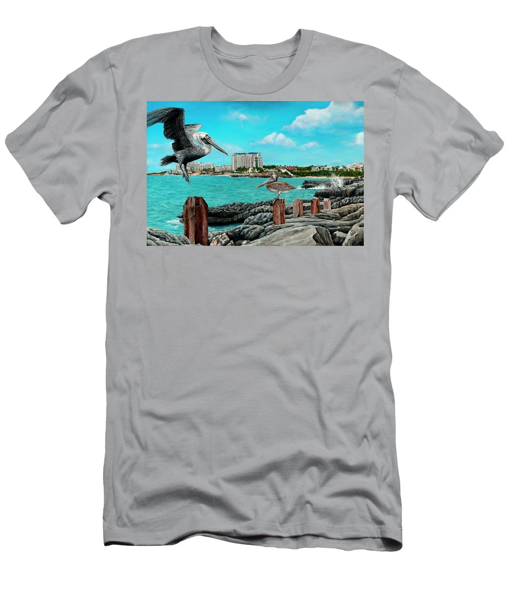 Mullet Bay Men's T-Shirt (Athletic Fit) featuring the painting Mullet Bay by Cindy D Chinn