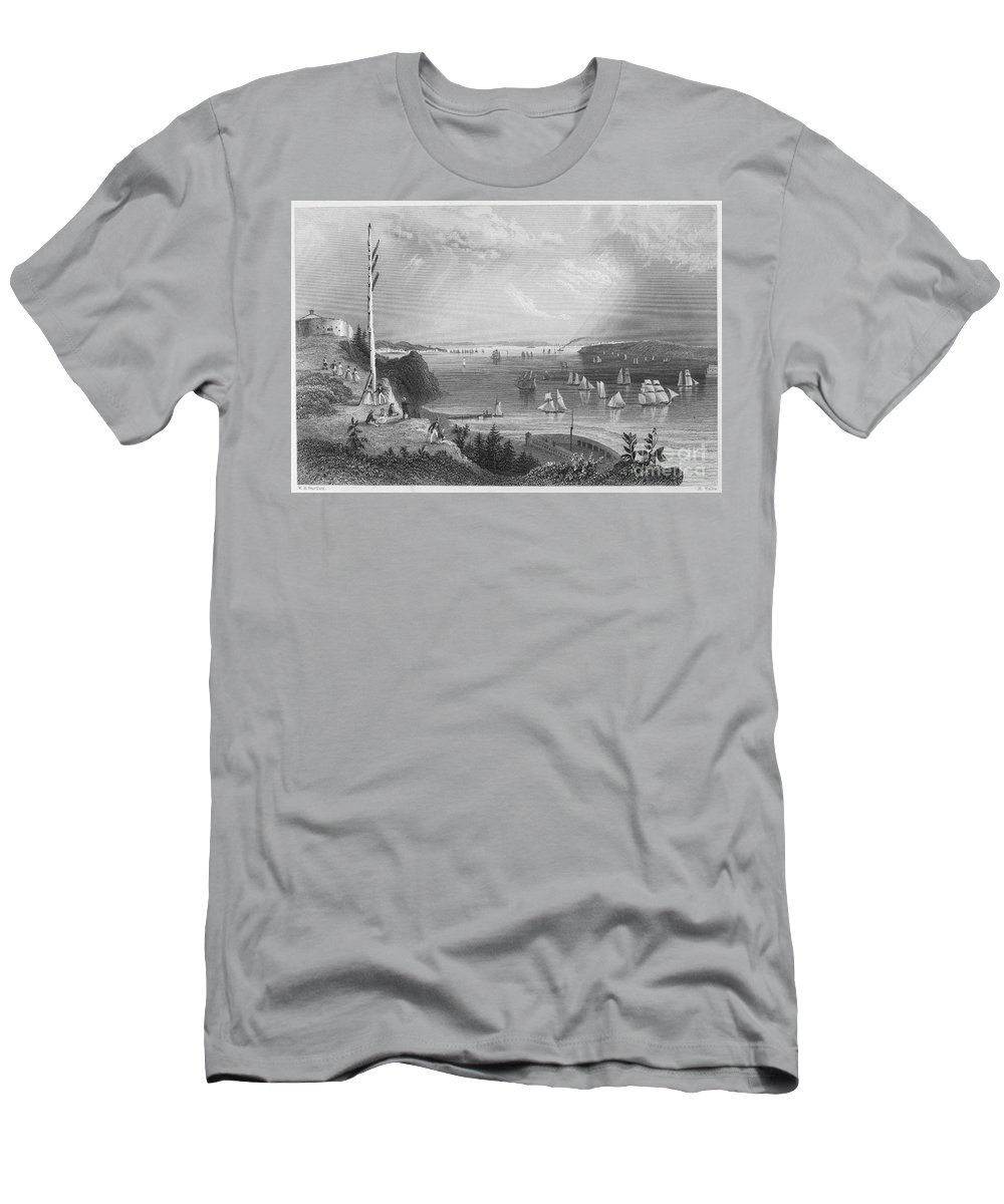 1838 Men's T-Shirt (Athletic Fit) featuring the photograph New York Bay, 1838 by Granger