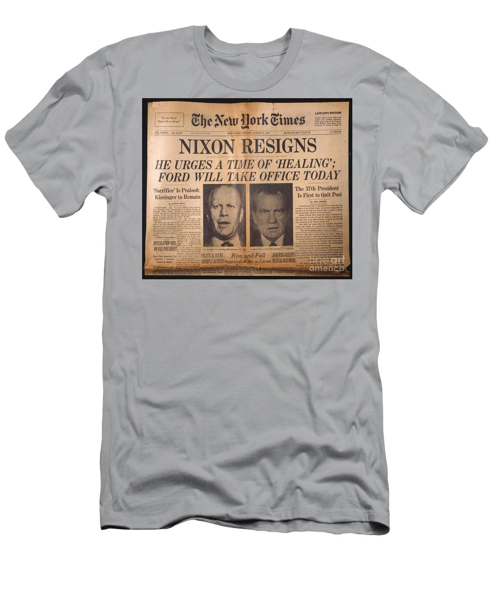 1974 Men's T-Shirt (Athletic Fit) featuring the photograph Nixon Resigns: Newspaper by Granger
