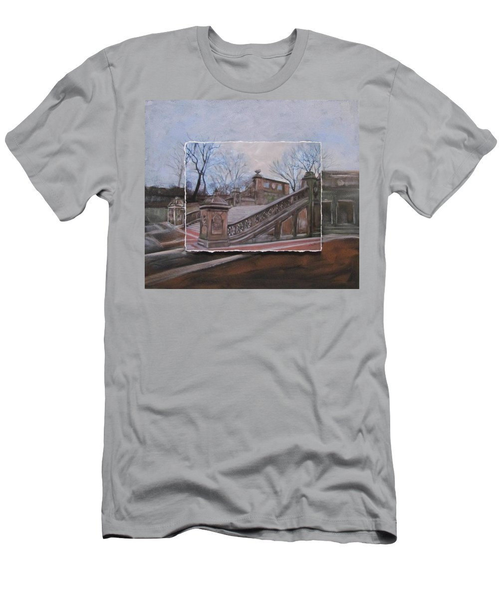 Nyc T-Shirt featuring the mixed media NYC Bethesda Stairs layered by Anita Burgermeister