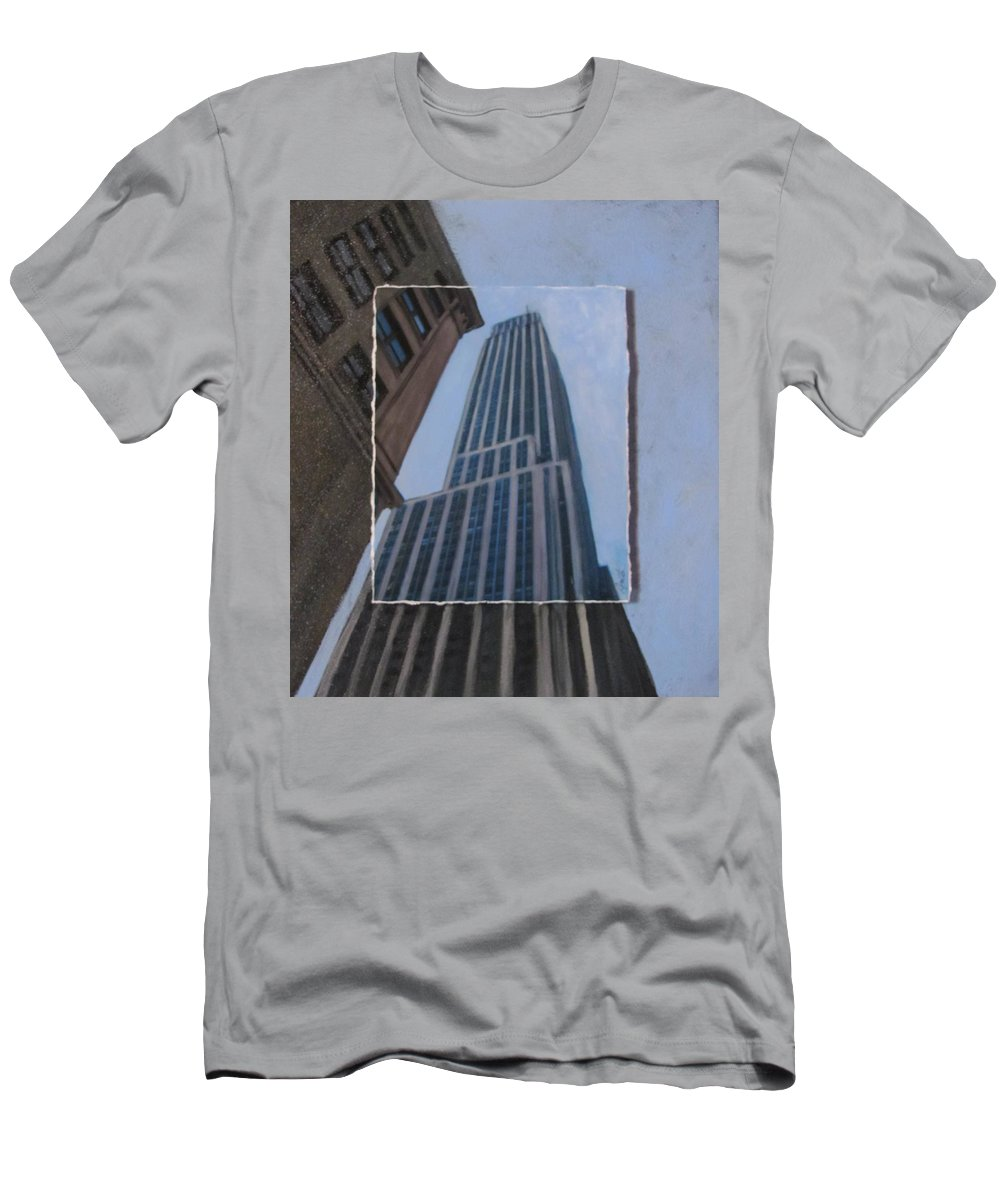 Nyc T-Shirt featuring the mixed media NYC Severe Empire layered by Anita Burgermeister