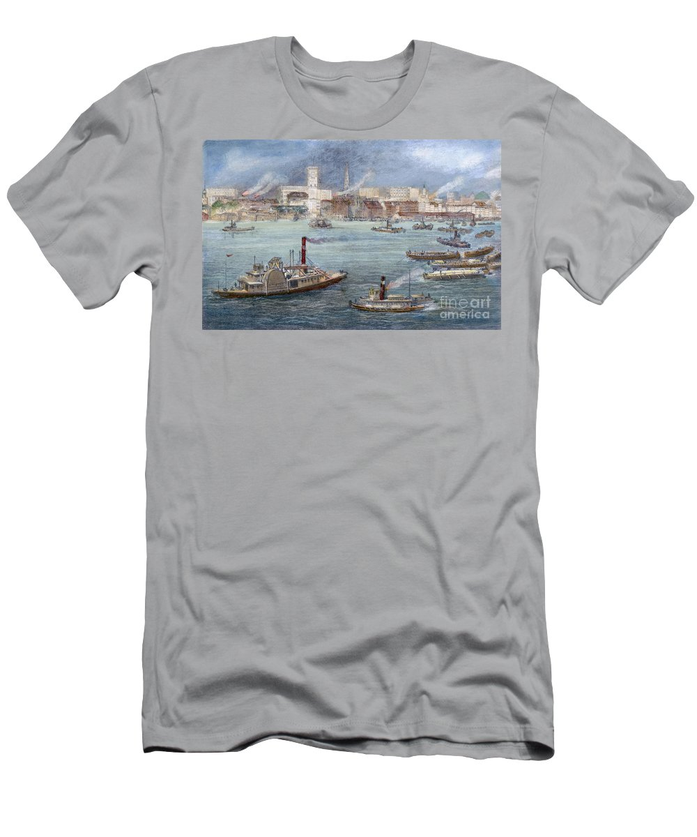 1884 Men's T-Shirt (Athletic Fit) featuring the photograph Nyc: The Battery, 1884 by Granger