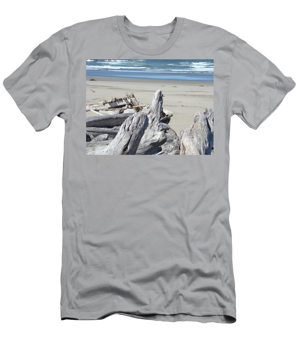 Driftwood Men's T-Shirt (Athletic Fit) featuring the photograph Ocean Beach Driftwood Art Prints Coastal Shore by Baslee Troutman