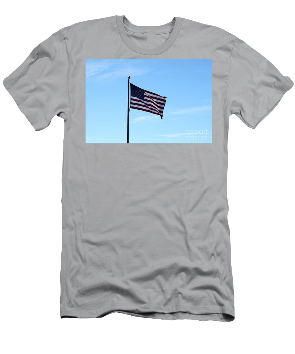 Flag Men's T-Shirt (Athletic Fit) featuring the photograph Old Usa Flag by Henrik Lehnerer