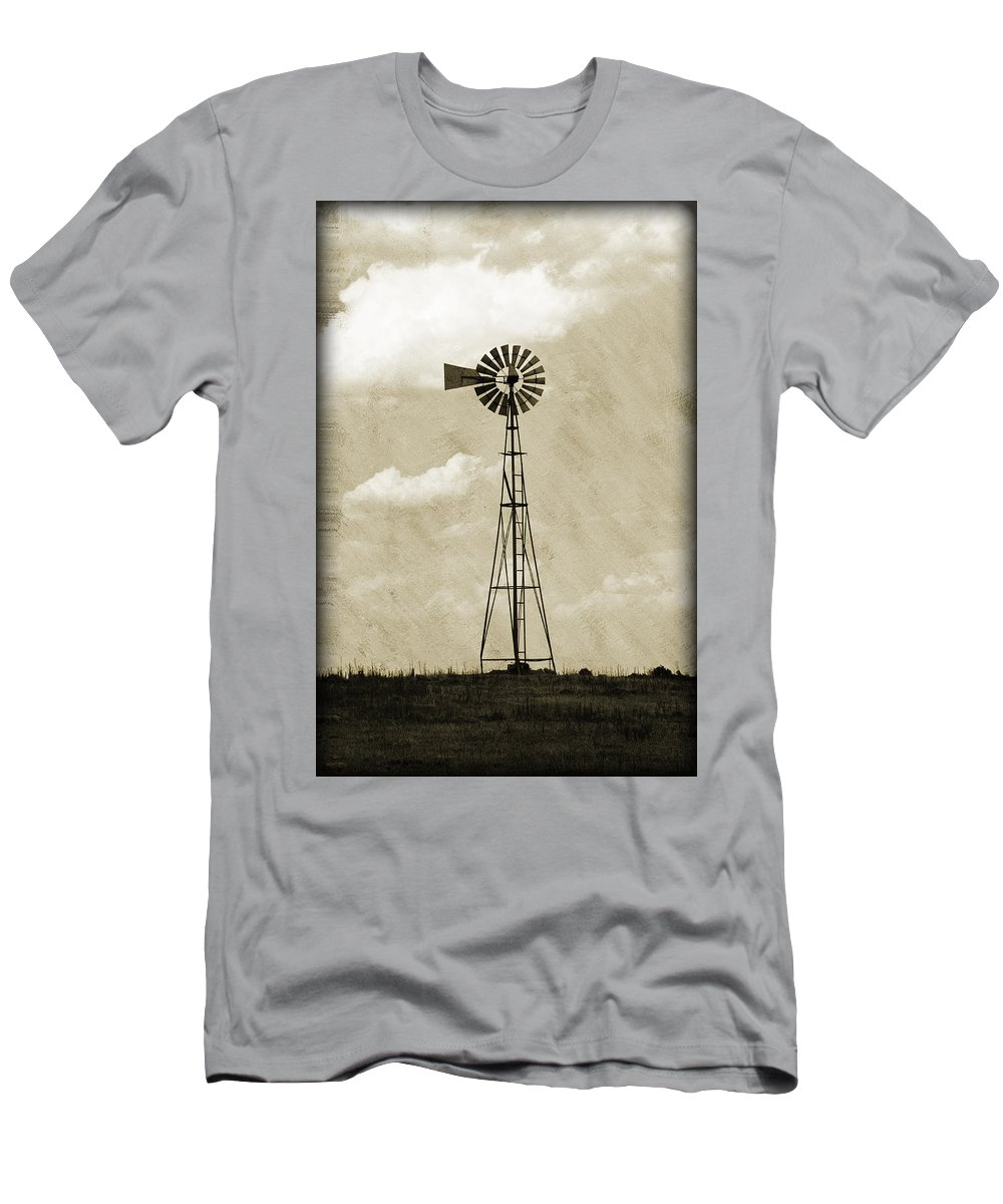Agriculture Men's T-Shirt (Athletic Fit) featuring the photograph Old Windmill I by Ricky Barnard