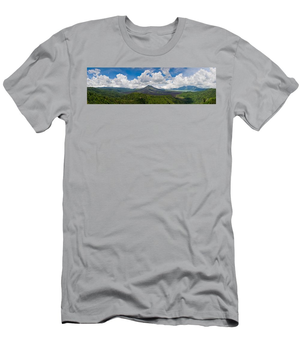 Ash Men's T-Shirt (Athletic Fit) featuring the photograph Panoramic View Of A Volcano Mountain by U Schade
