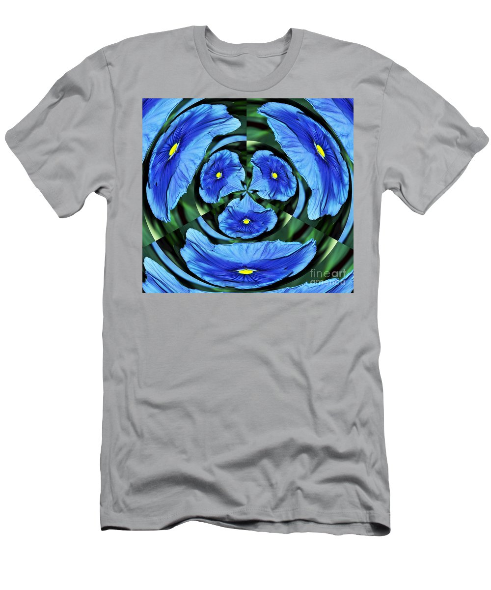 Photography Men's T-Shirt (Athletic Fit) featuring the photograph Pansy In Triplicate by Kaye Menner