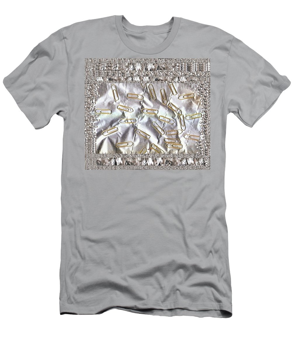 Landscape T-Shirt featuring the mixed media Paper Clips And Paper Pop Art by Pepita Selles
