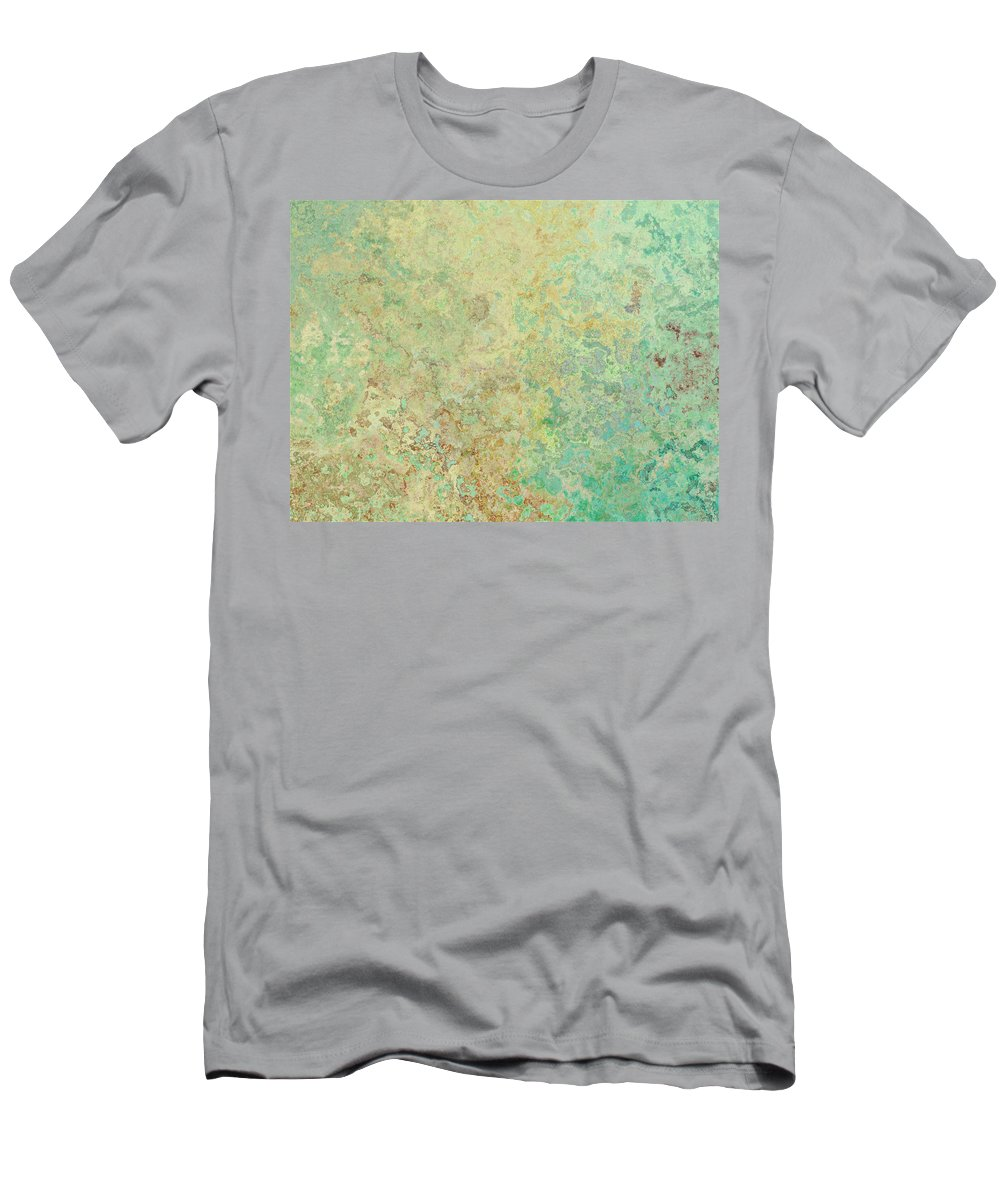 Abstract Men's T-Shirt (Athletic Fit) featuring the digital art Pastle Green Stone by Debbie Portwood