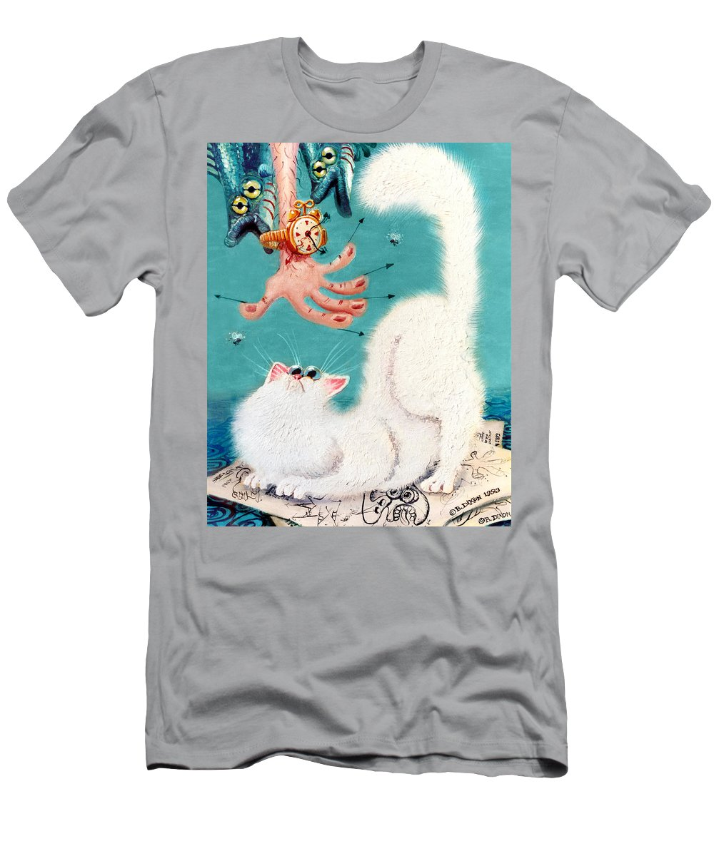 Cat Men's T-Shirt (Athletic Fit) featuring the painting Pat That Cat by Baron Dixon