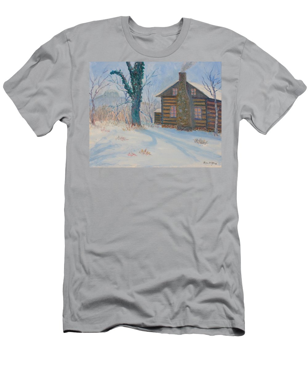 Pilot Mountain T-Shirt featuring the painting Pilot Mountain Lodge by Ben Kiger