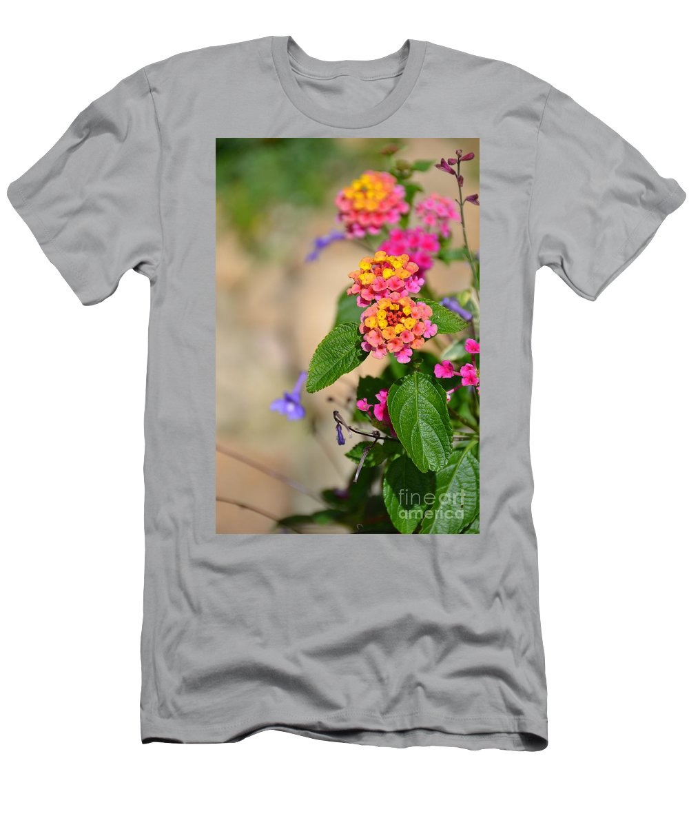 Flower Men's T-Shirt (Athletic Fit) featuring the photograph Pink And Yellow by Bonnie Myszka