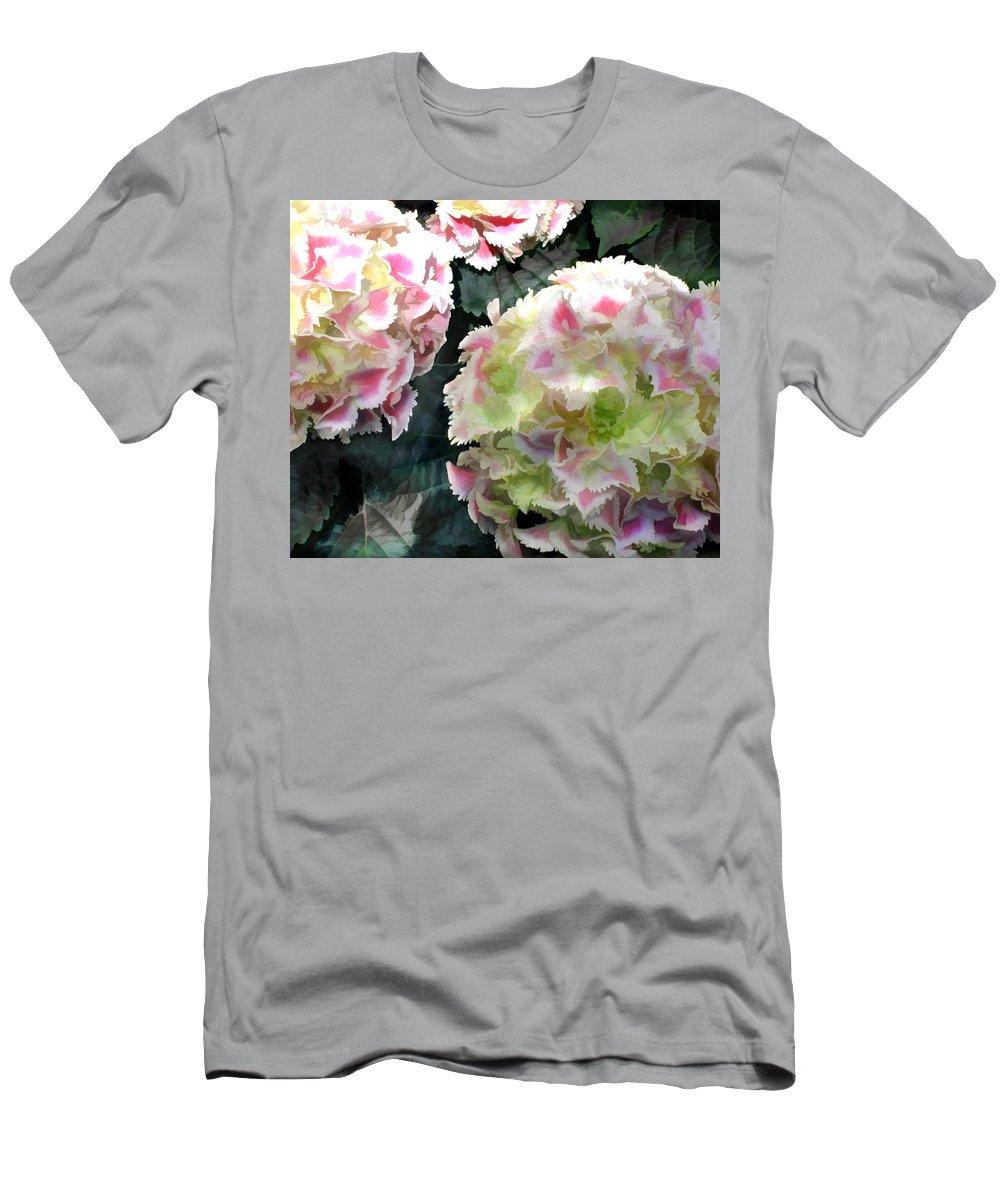 Flower Flowers Garden Hydrangea Hydrangeas Pink Flora Floral Nature Natural Men's T-Shirt (Athletic Fit) featuring the painting Pink Hydrangeas by Elaine Plesser