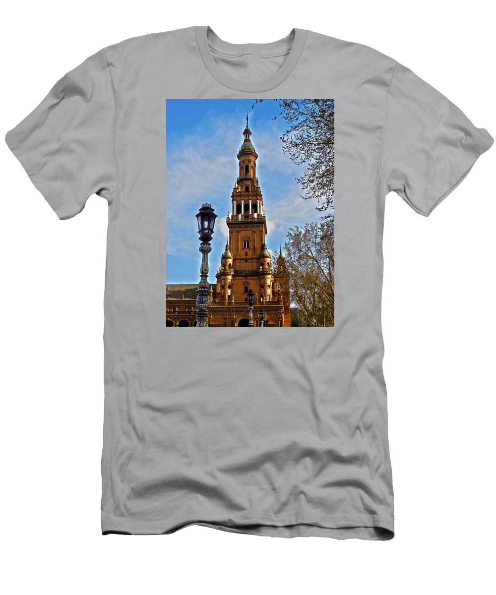 Europe Men's T-Shirt (Athletic Fit) featuring the photograph Plaza De Espana - Sevilla by Juergen Weiss