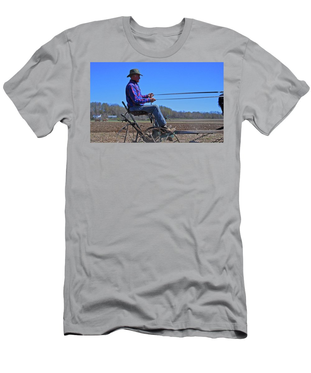 Horse Men's T-Shirt (Athletic Fit) featuring the photograph Plowing 1882 by Guy Whiteley