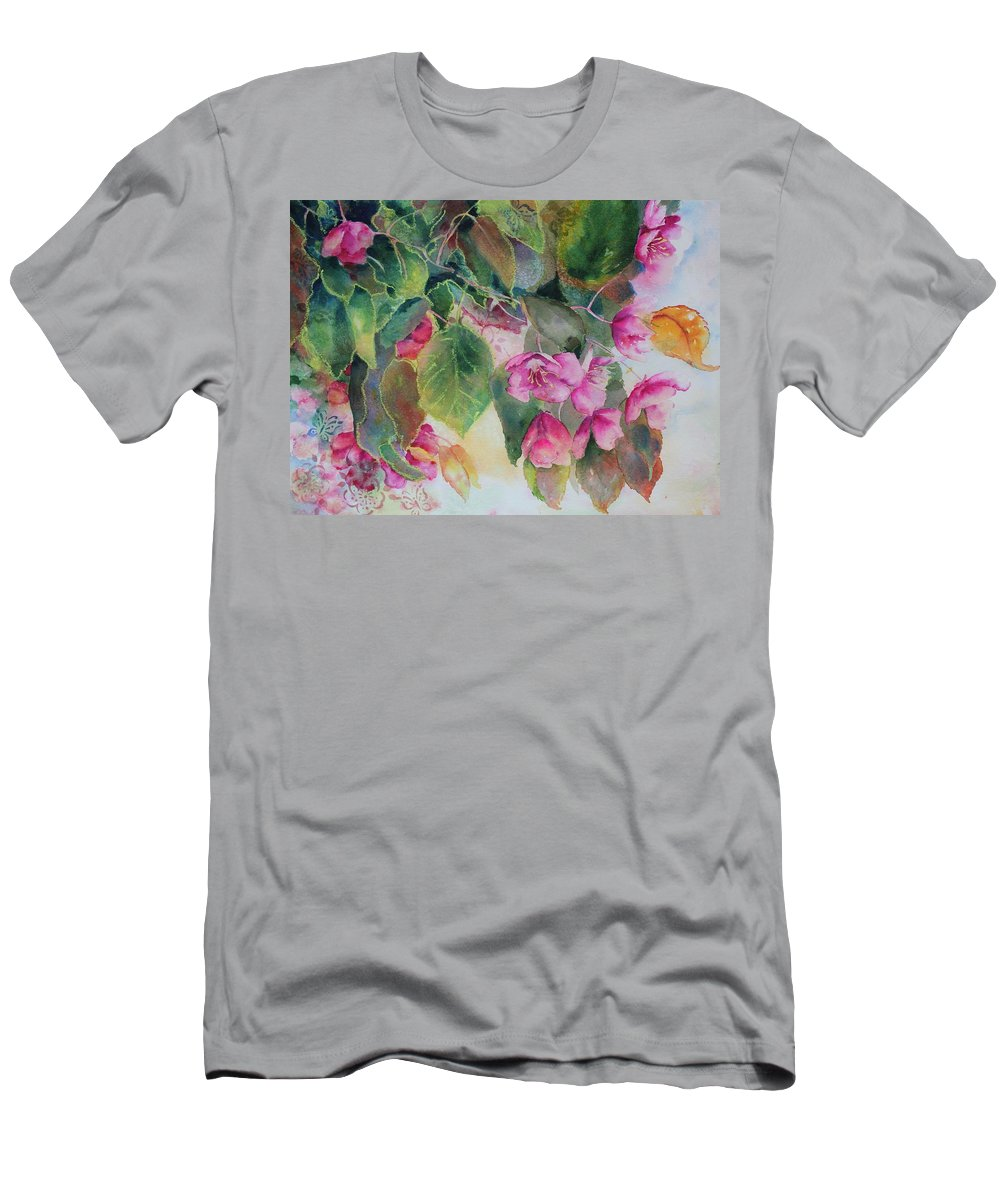 Flowers Men's T-Shirt (Athletic Fit) featuring the painting Plum Blossom by Ruth Kamenev
