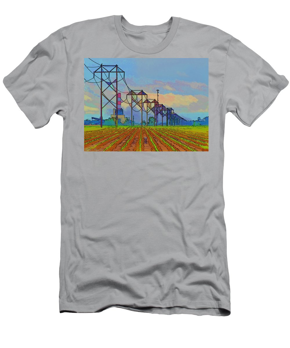 Arcitecture Men's T-Shirt (Athletic Fit) featuring the photograph Power Plant Photo Art by Debbie Portwood