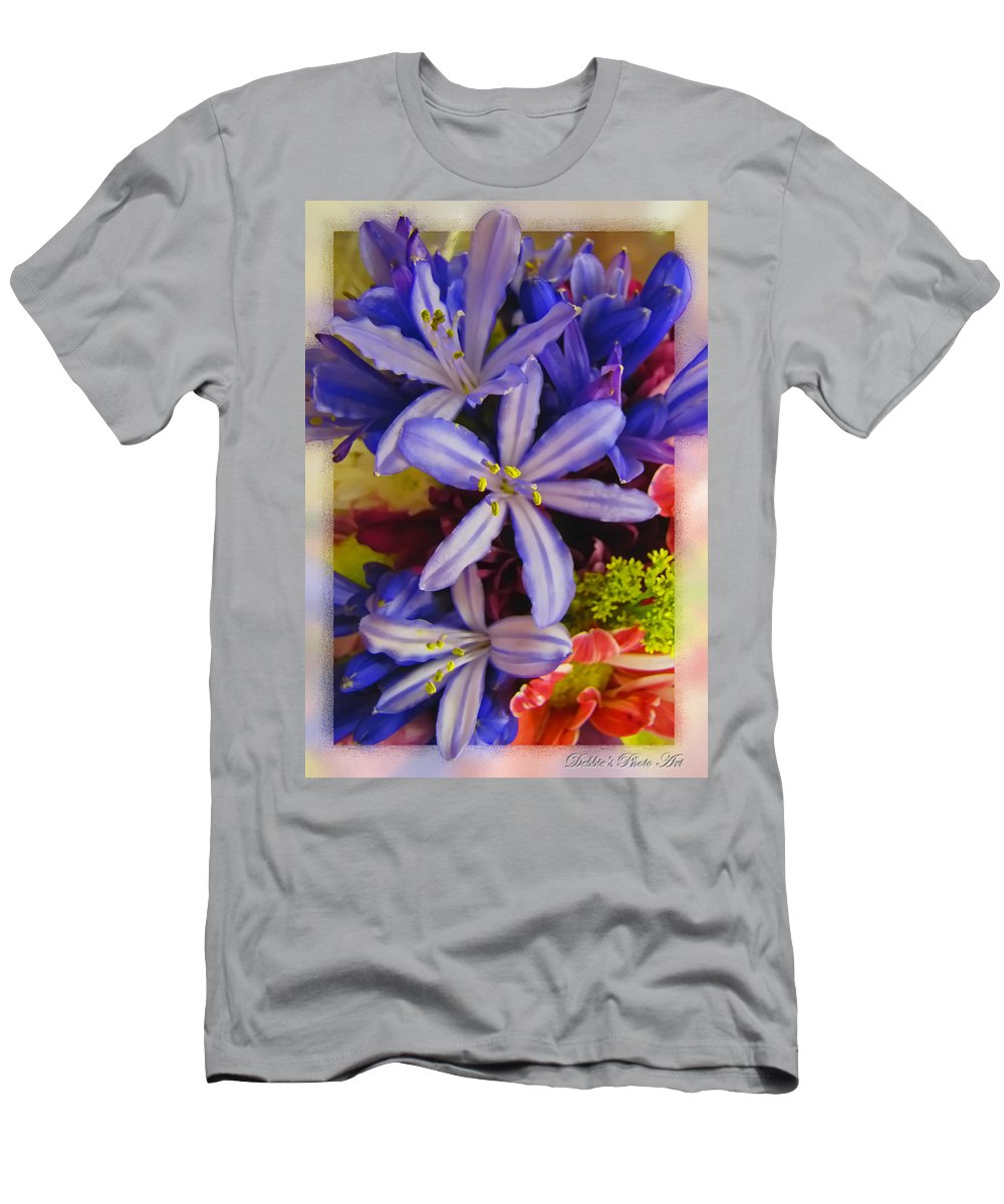 Nature Men's T-Shirt (Athletic Fit) featuring the photograph Purple Stars by Debbie Portwood