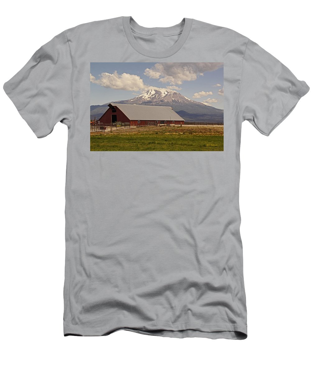 Red Men's T-Shirt (Athletic Fit) featuring the photograph Red Barn Under Mount Shasta by Mick Anderson