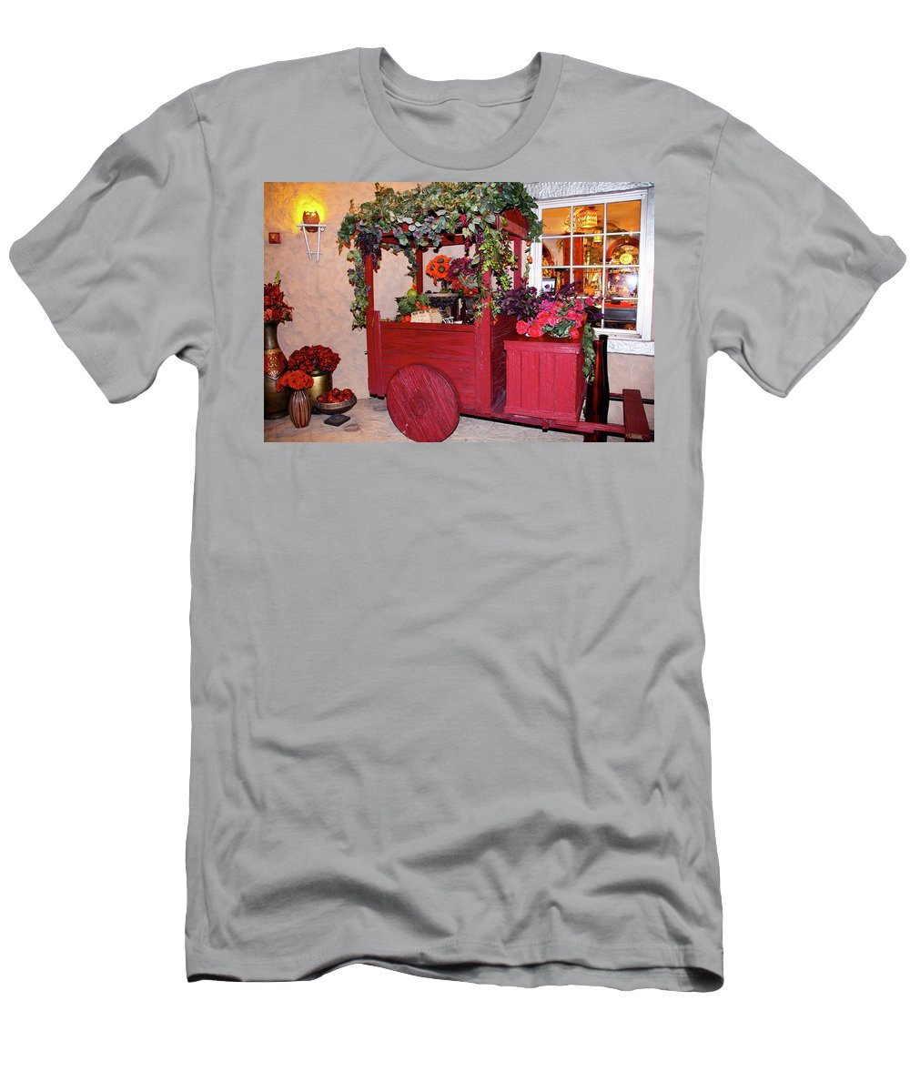 Inanimate Scene Men's T-Shirt (Athletic Fit) featuring the photograph Red Cart Of Flowers by Terry Wallace