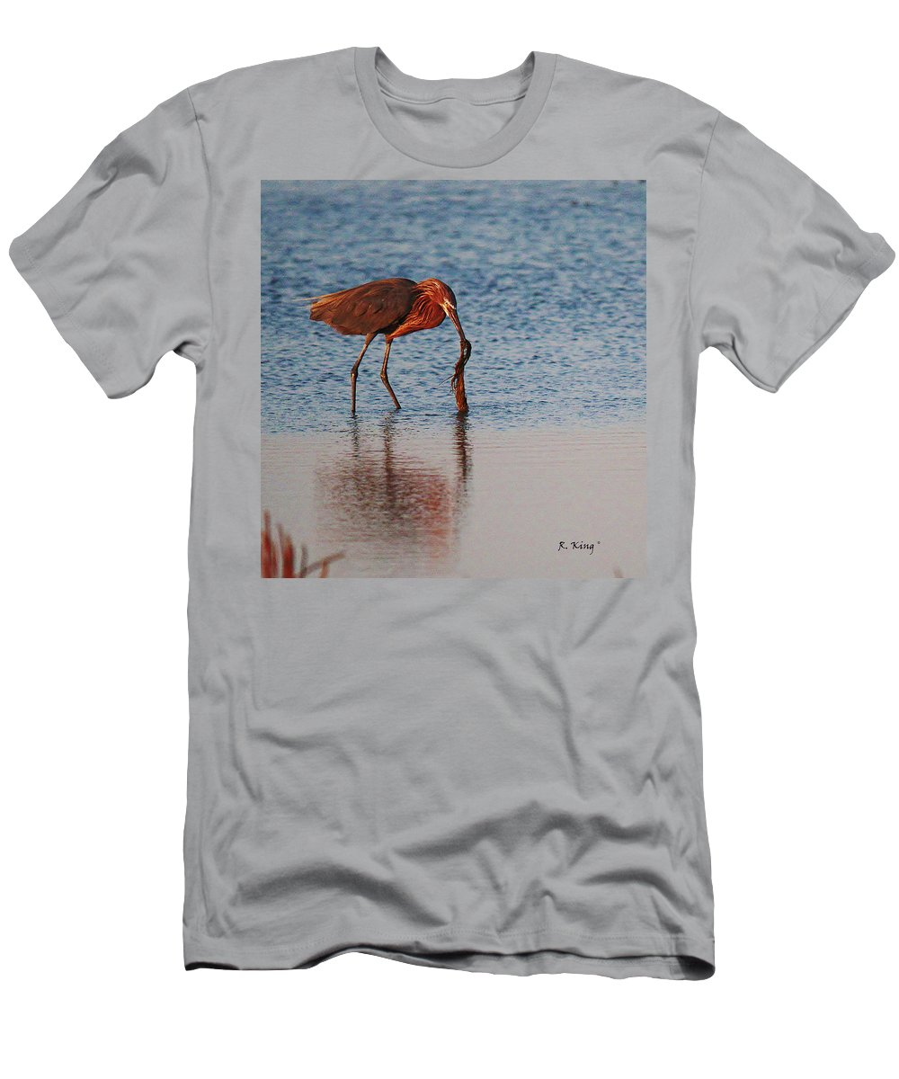 Roena King Men's T-Shirt (Athletic Fit) featuring the photograph Reddish Egret Checking It Out by Roena King