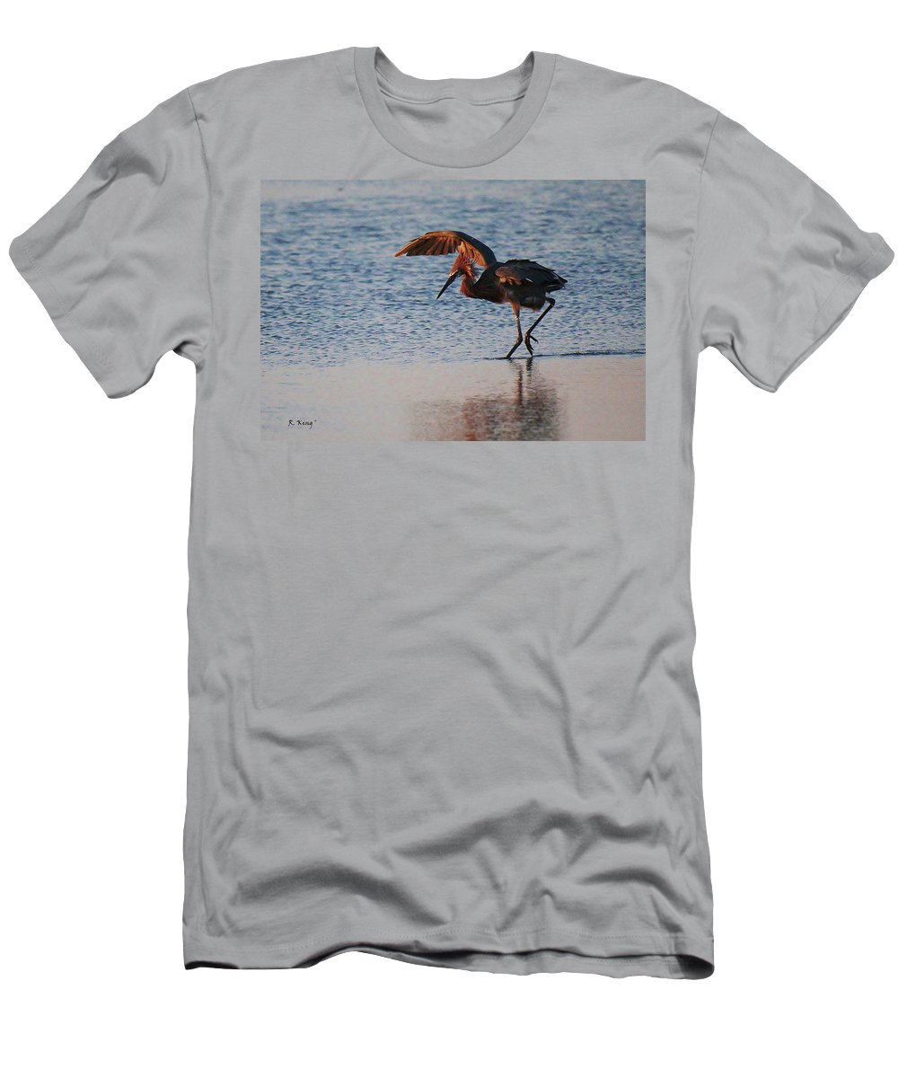 Roena King Men's T-Shirt (Athletic Fit) featuring the photograph Reddish Egret Doing A Forging Dance by Roena King