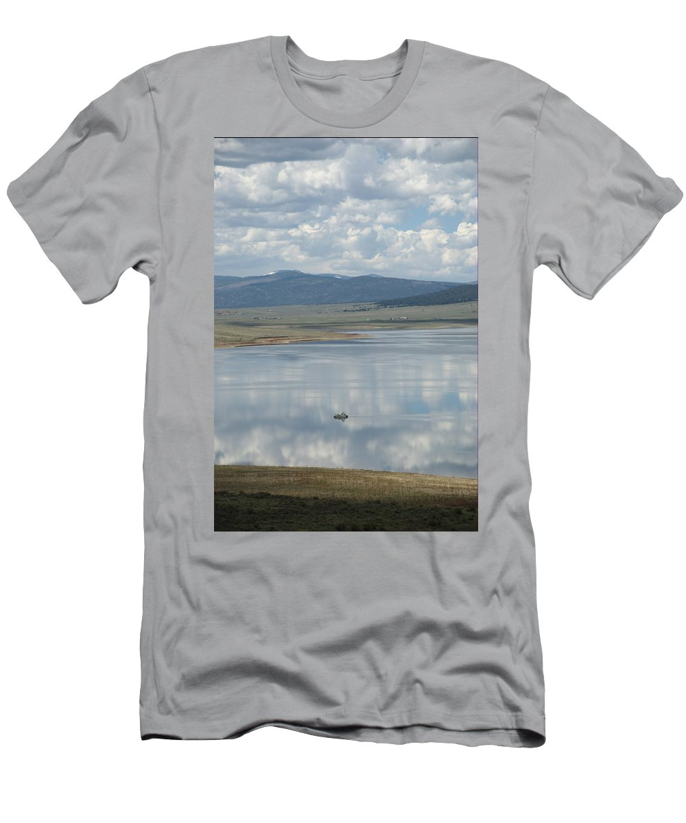 Eagle Nest Men's T-Shirt (Athletic Fit) featuring the photograph Reflection Of Clouds On Eagle Nest Lake by Ron Weathers