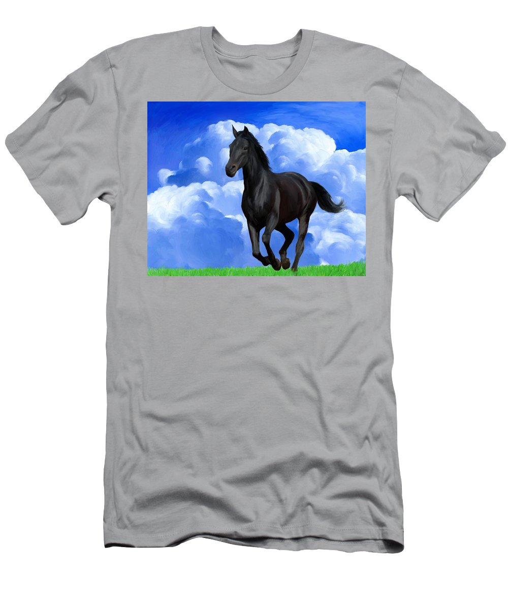 Horse Men's T-Shirt (Athletic Fit) featuring the painting Running Free by Snake Jagger
