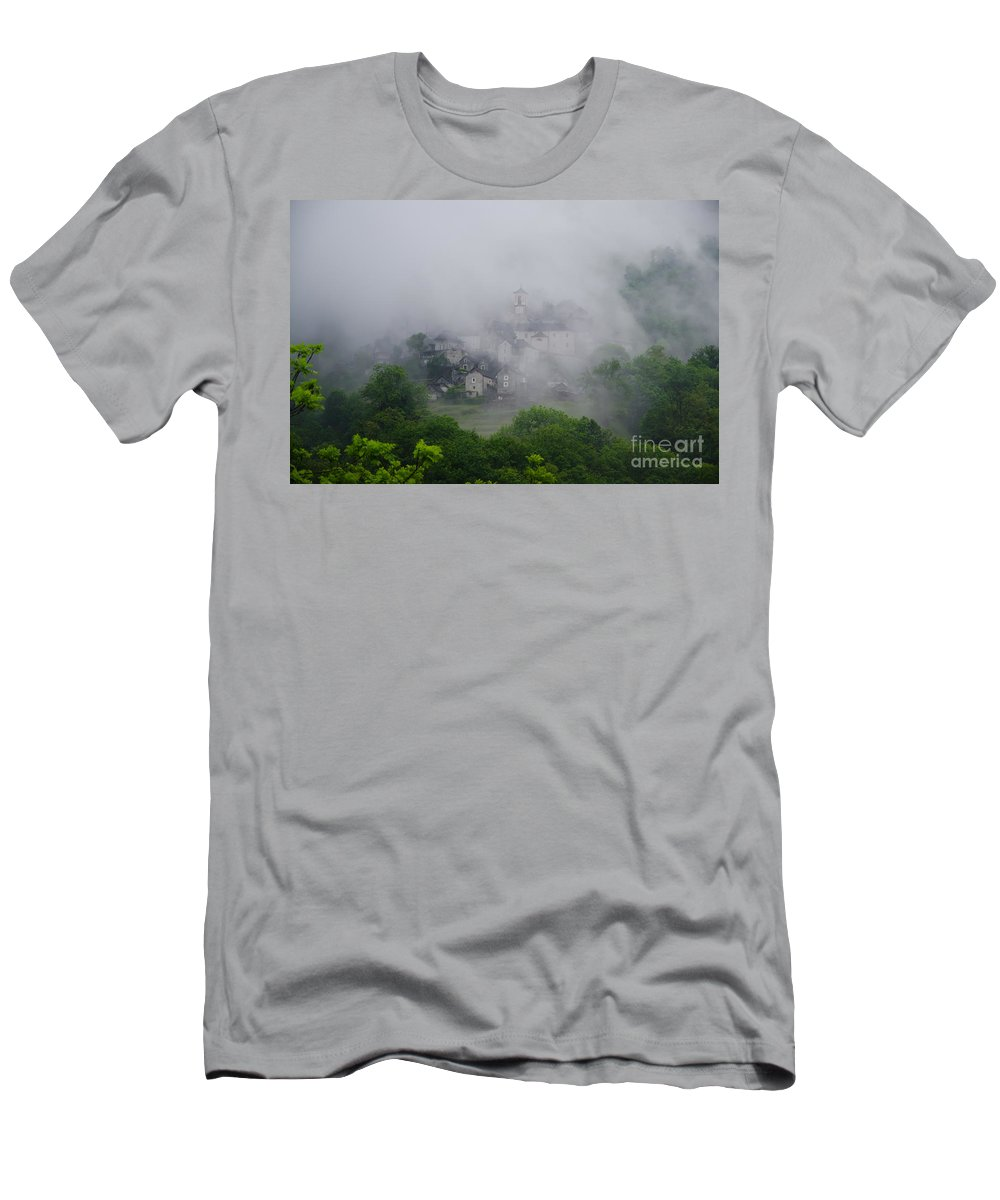 Village Men's T-Shirt (Athletic Fit) featuring the photograph Rustic Village In The Fog by Mats Silvan