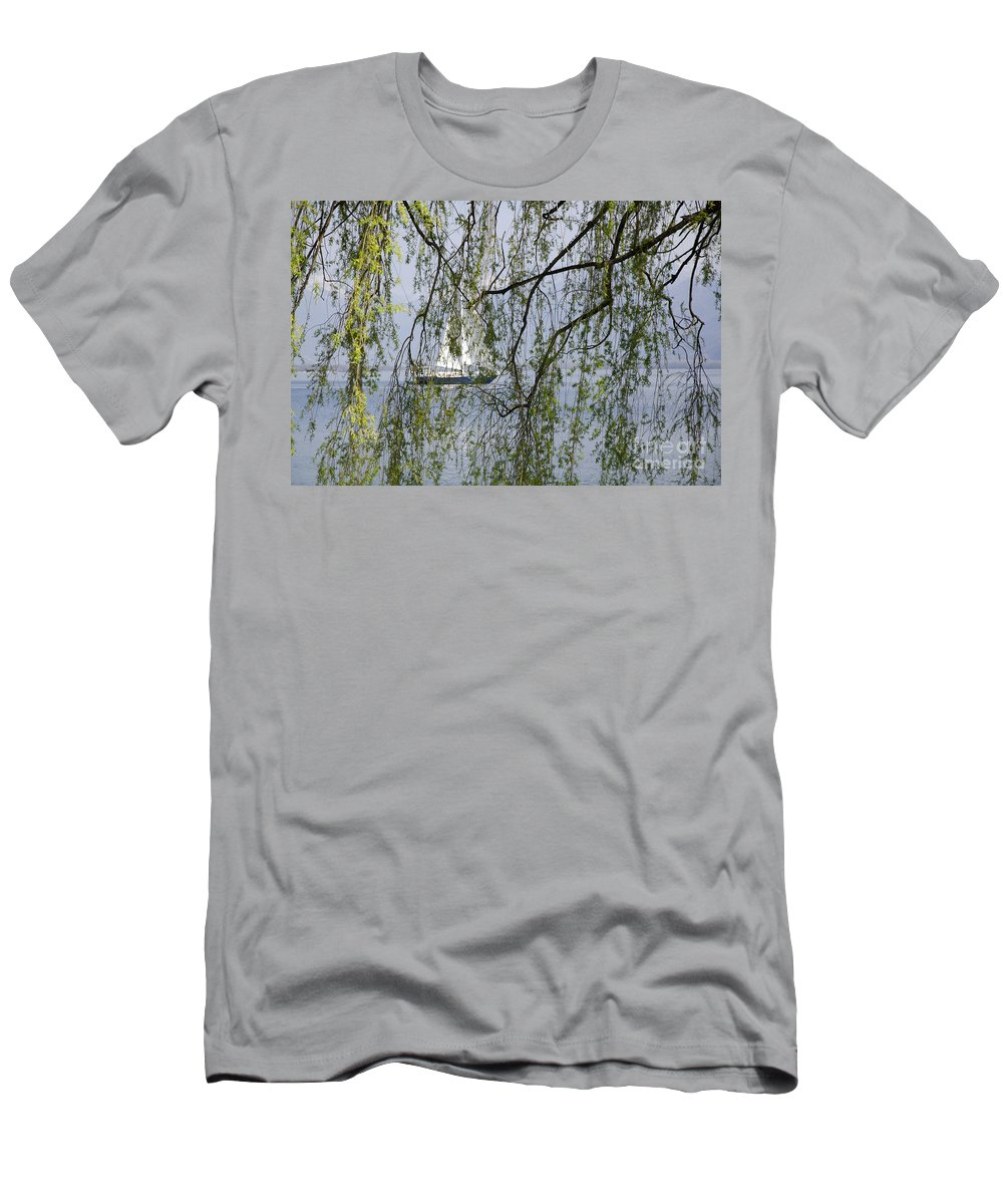 Boat Men's T-Shirt (Athletic Fit) featuring the photograph Sailing Boat Behind Tree Branches by Mats Silvan