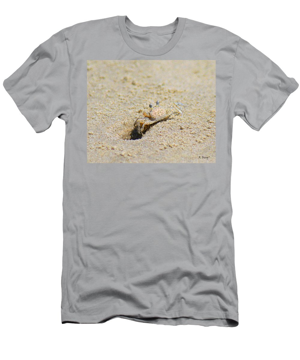 Roena King Men's T-Shirt (Athletic Fit) featuring the photograph Sand Crab Digging His Hole by Roena King