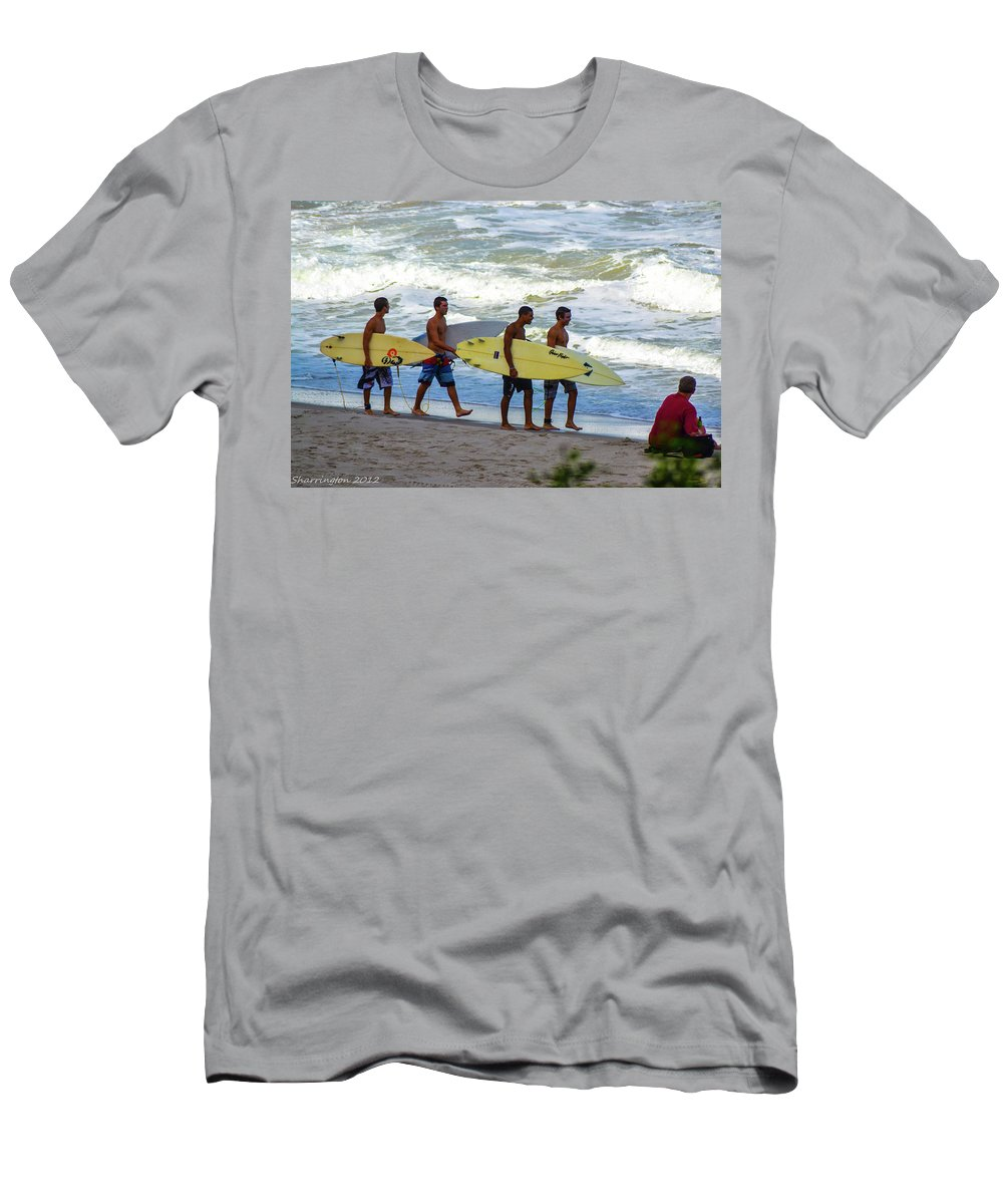 Surfing Men's T-Shirt (Athletic Fit) featuring the photograph Satelite Beach by Shannon Harrington