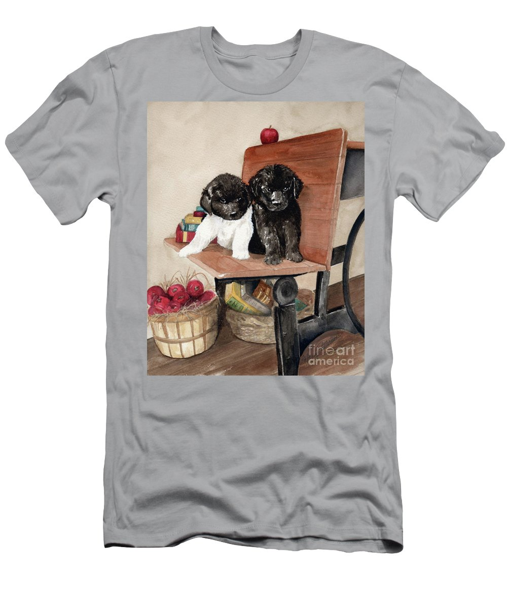 Watercolor Men's T-Shirt (Athletic Fit) featuring the painting School Days by Nancy Patterson
