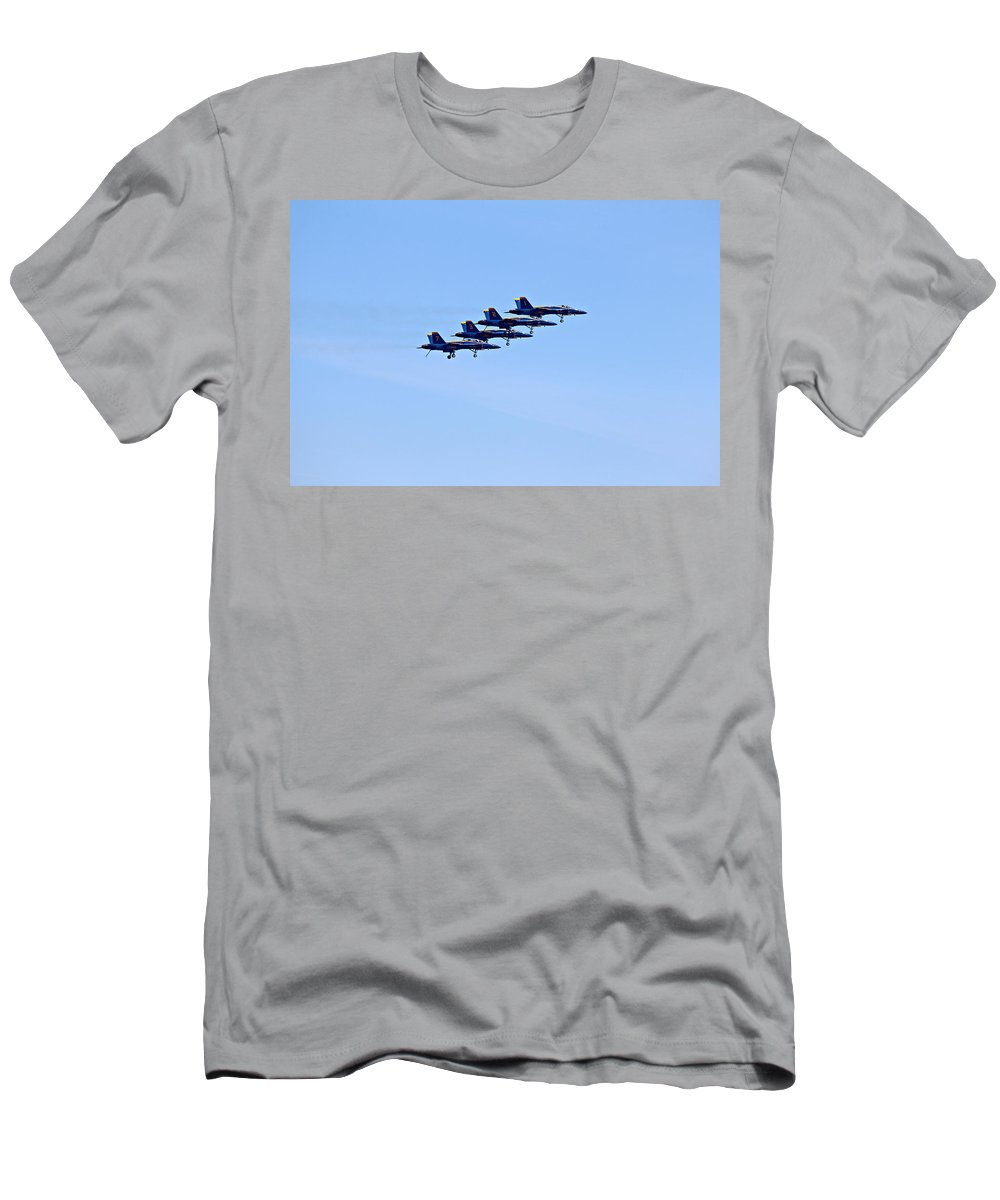 Aerobatics Men's T-Shirt (Athletic Fit) featuring the photograph Seafair Blue Angels by Paul Fell