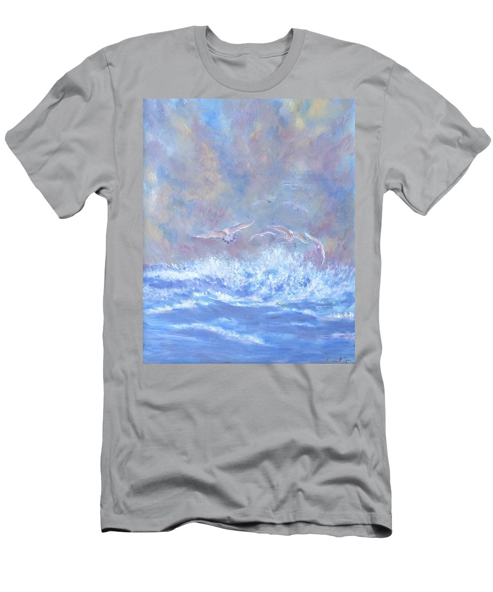 Seascape T-Shirt featuring the painting Seagulls at Play by Ben Kiger