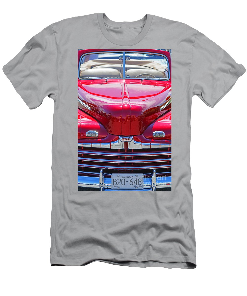 Custom Cars Men's T-Shirt (Athletic Fit) featuring the photograph Shiny Red Ford Convertible. by Randy Harris