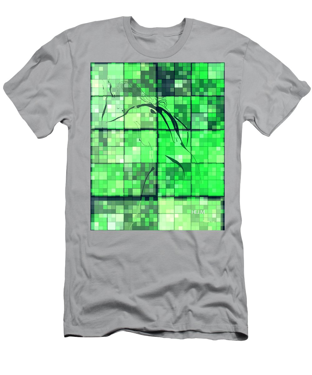 Collage Photographs Men's T-Shirt (Athletic Fit) featuring the digital art Sinful Geometric Green by Mayhem Mediums