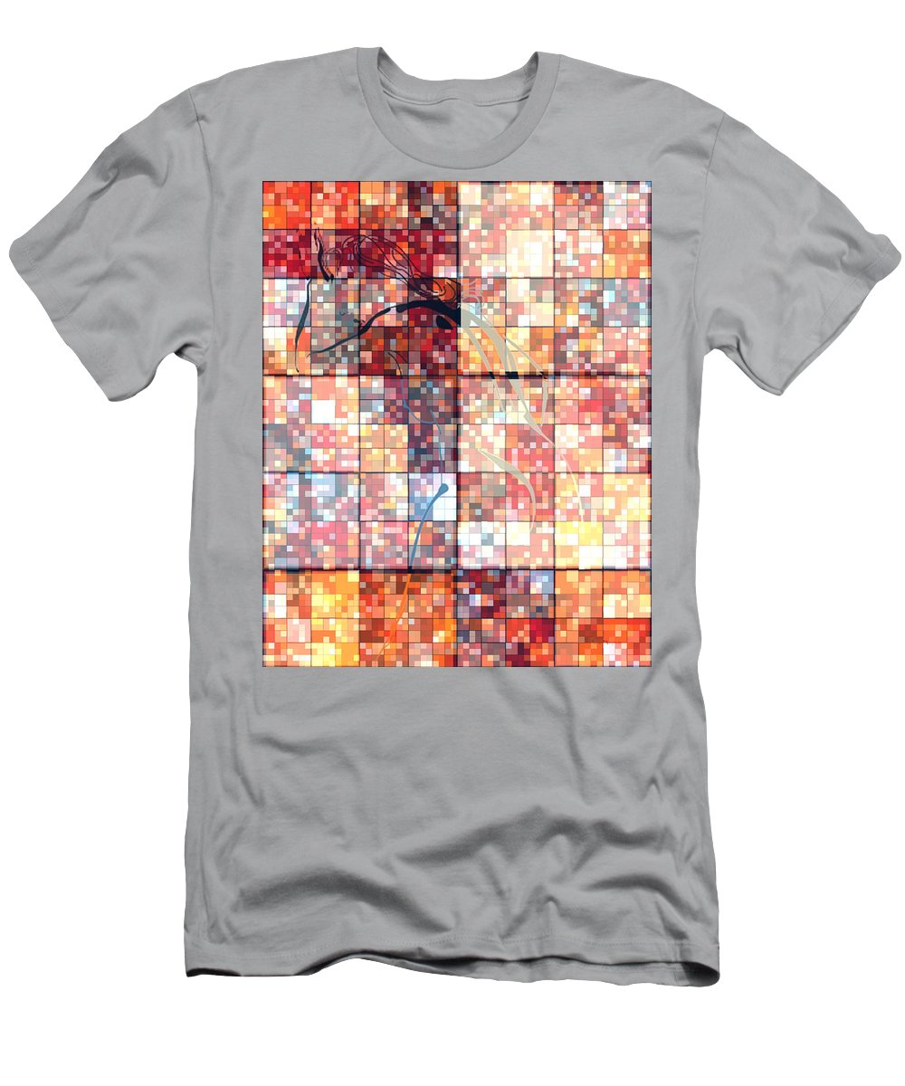 Hearts Digital Art Men's T-Shirt (Athletic Fit) featuring the photograph Sinful Geometric Red by Mayhem Mediums