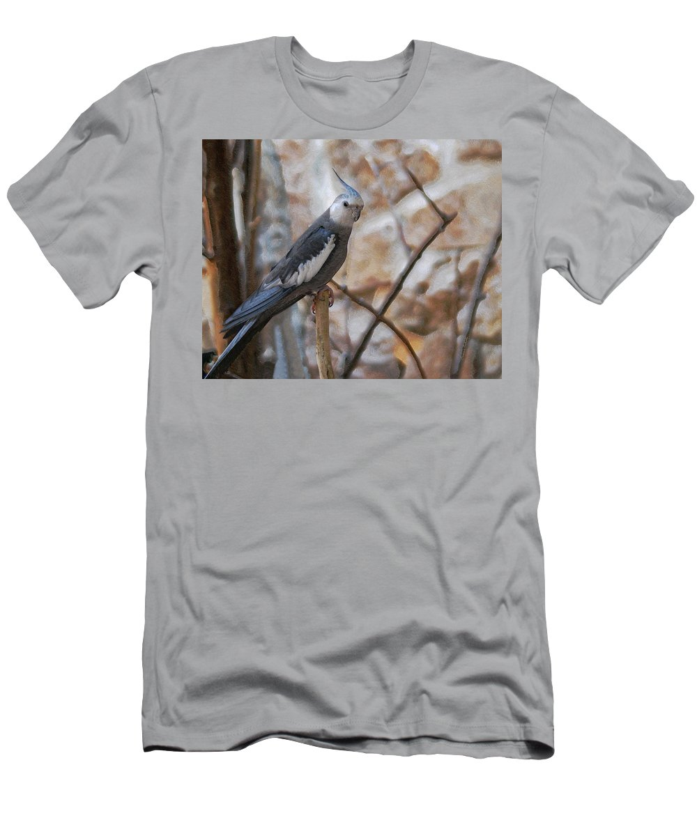 Cockatiels Men's T-Shirt (Athletic Fit) featuring the photograph Sitting Pretty by Ernie Echols
