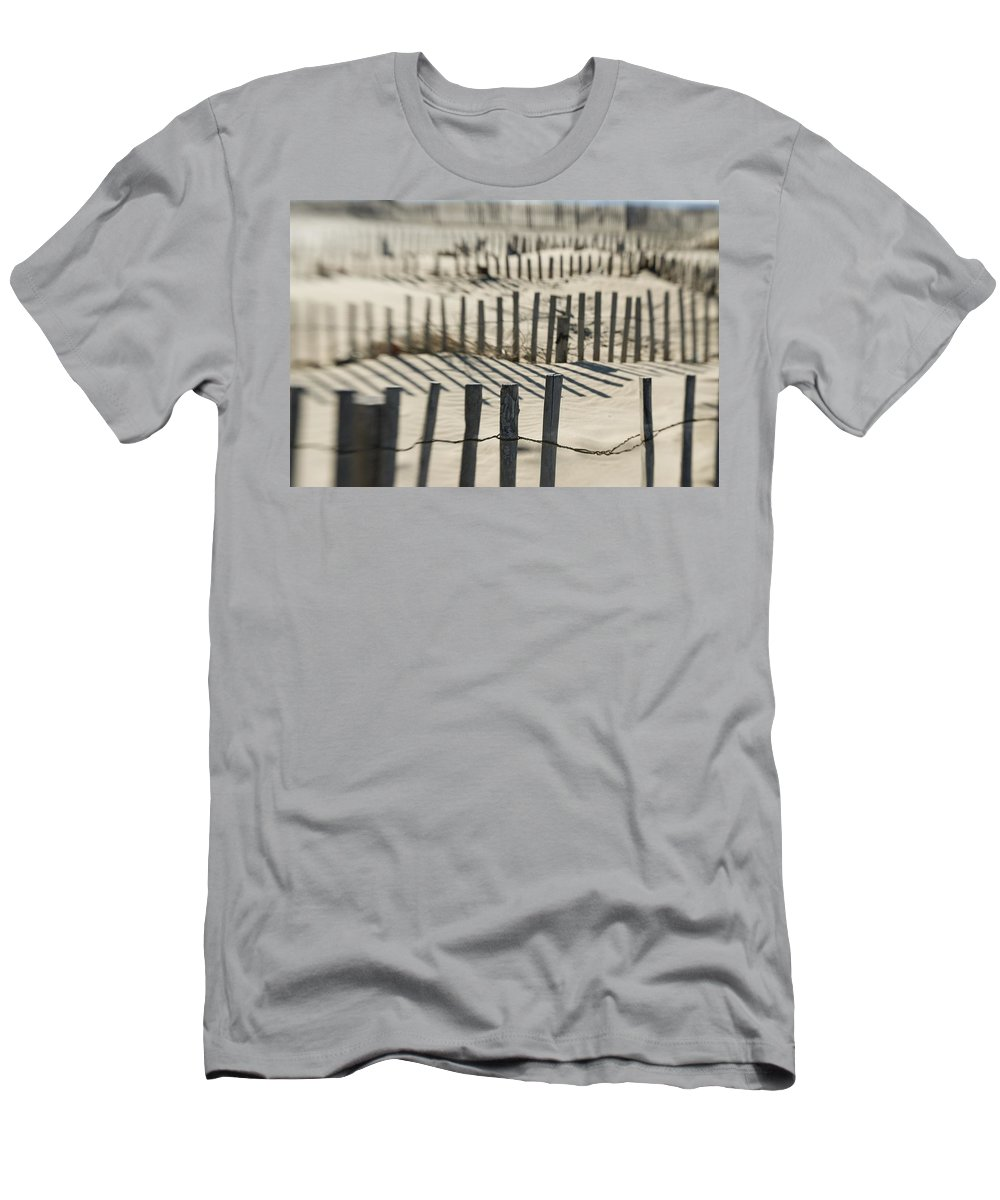 British Columbia Men's T-Shirt (Athletic Fit) featuring the photograph Slats Of Wooden Fence Throwing Shadows by Helene Cyr