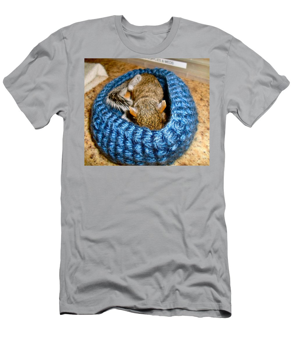 Squirrel Men's T-Shirt (Athletic Fit) featuring the photograph Sleepy Time by Art Dingo