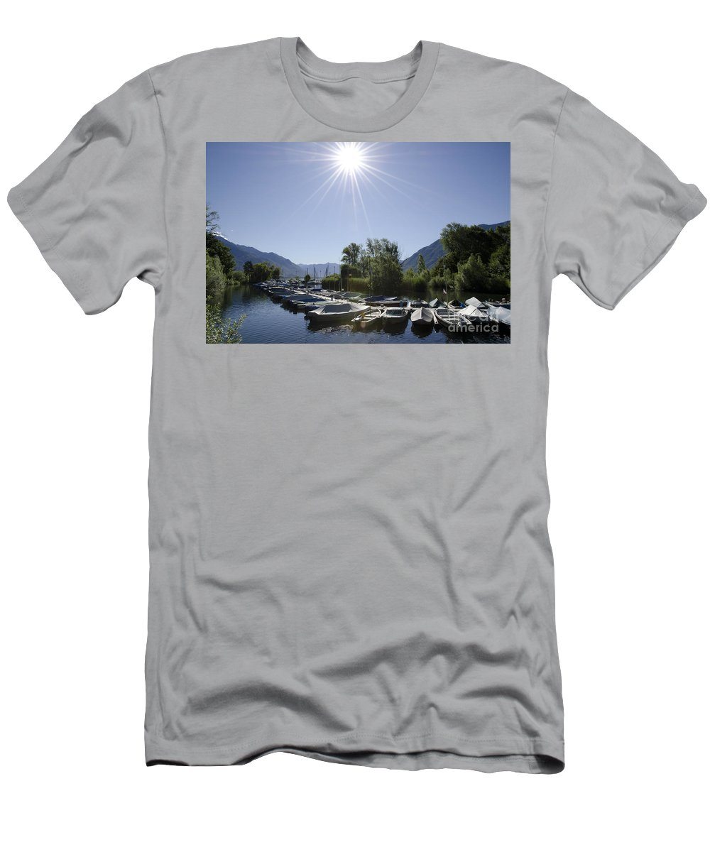 Port Men's T-Shirt (Athletic Fit) featuring the photograph Small Harbor by Mats Silvan