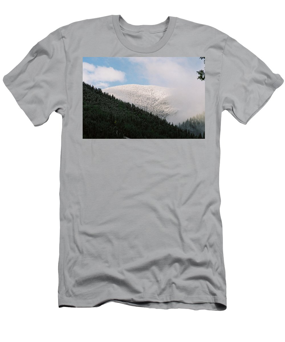 Red River Men's T-Shirt (Athletic Fit) featuring the photograph Snow On Black Mountain by Ron Weathers