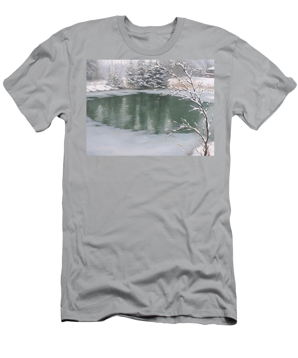 Landscape Men's T-Shirt (Athletic Fit) featuring the painting Snowy Day by Olena Lopatina