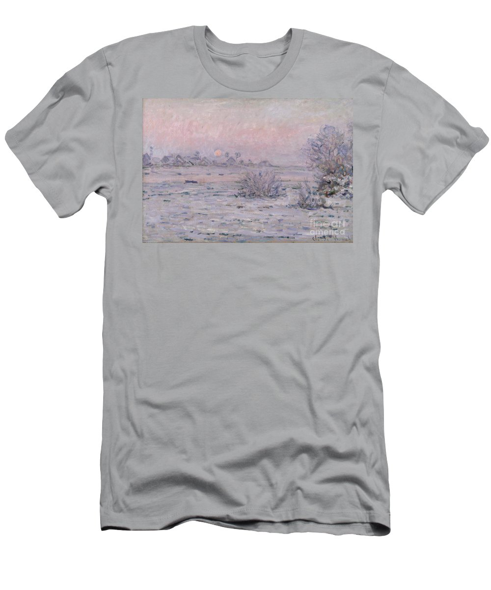 Claude Monet Men's T-Shirt (Athletic Fit) featuring the painting Snowy Landscape At Twilight by Claude Monet