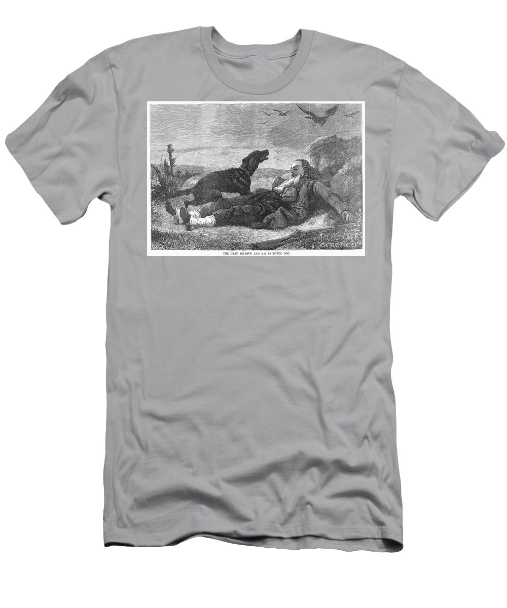 19th Century Men's T-Shirt (Athletic Fit) featuring the photograph Soldier & Dog by Granger