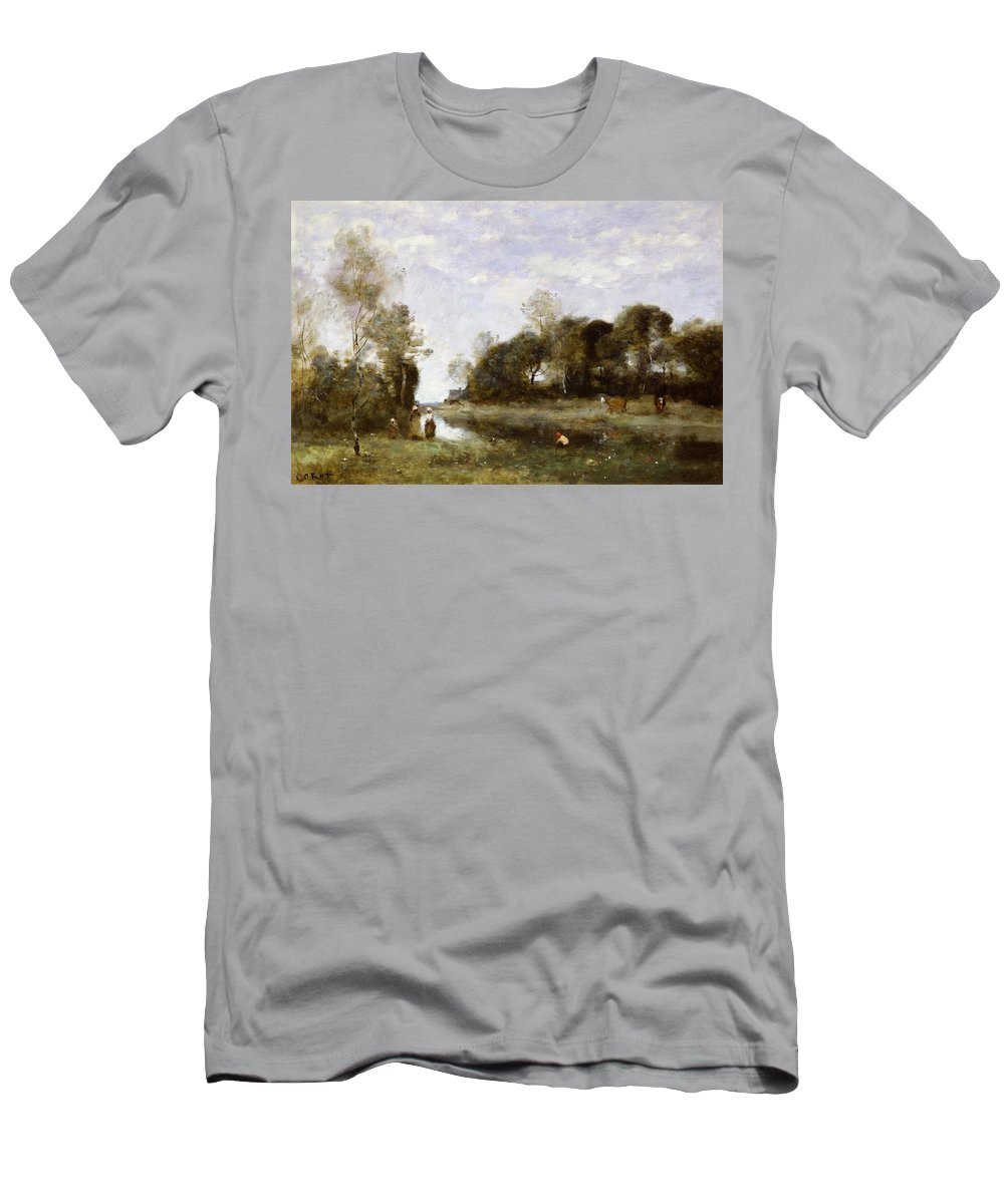Souvenir Men's T-Shirt (Athletic Fit) featuring the painting Souvenir Of The Bresle At Incheville by Jean Baptiste Camille Corot