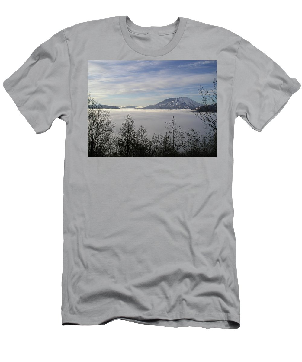 Mt St Helens Men's T-Shirt (Athletic Fit) featuring the photograph St Helens Above Clouds by Catherine Helmick