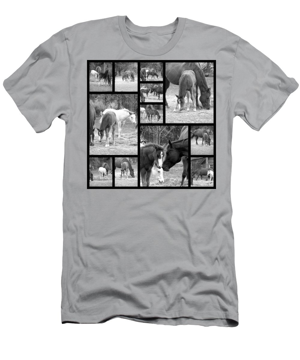 Black And White Photos Of Horses Men's T-Shirt (Athletic Fit) featuring the photograph Stay Close by Christy Leigh